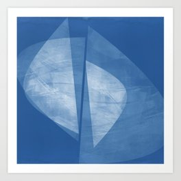 Mid Century Modern Blue and White Geometric Square Format Abstract Art Print