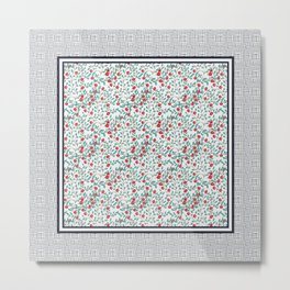 Little Flowers in Red, Blue and Plaid Print - Indian Floral Collection Metal Print