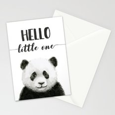 Panda Art Print Baby Animals Hello Little One Nursery Decor Stationery Cards