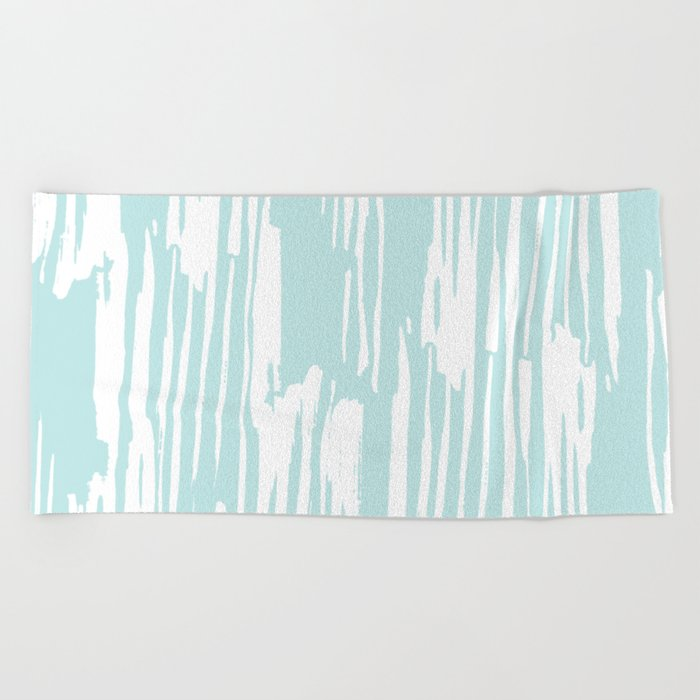 Bamboo Stripe Succulent Blue and White Beach Towel