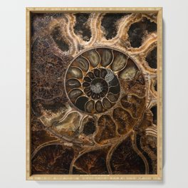 Earth treasures - Fossil in brown tones Serving Tray