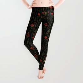Green, Red-Orange, and Black Floral/Botanical Print Leggings