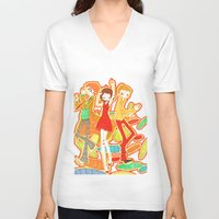 70s V-neck T-shirts featuring 70s Disco Fever by Little Cello