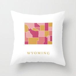Wyoming map Throw Pillow