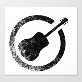 Acoustic Guitar Ink Stamp Canvas Print