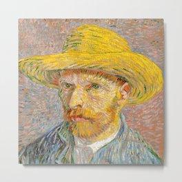 Self-Portrait with a Straw Hat - Vincent Van Gogh Metal Print