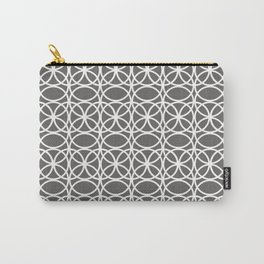Pantone Pewter and White Rings Circle Heaven 2, Overlapping Ring Design - Digital Artwork Carry-All Pouch
