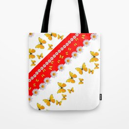 RED MODERN ART YELLOW BUTTERFLIES & WHITE DAISIES Tote Bag