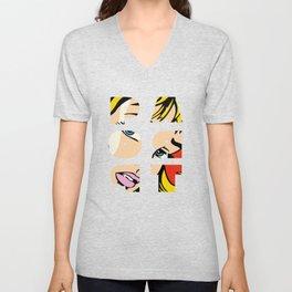 Pop Art Lichtenstein style Unisex V-Neck