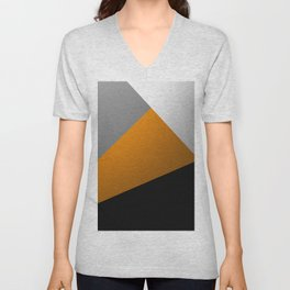 Metallic I - Abstract, geometric, metallic textured gold, silver and black metal effect artwork Unisex V-Neck