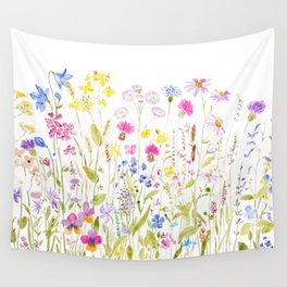 botanical colorful wildflower garden watercolor painting horizontal Wall Tapestry