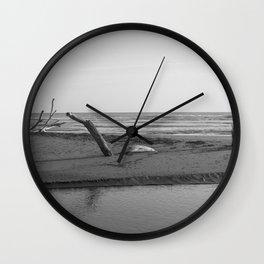 Nature reserve, Sicily, black white Wall Clock