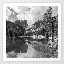 Hallet Peak and Dream Lake Monochrome Reflections - Rocky Mountain National Park Art Print