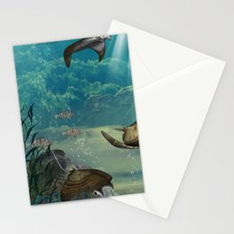 Awesome steampunk manta rays Stationery Cards