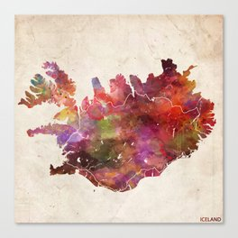Iceland map Canvas Print