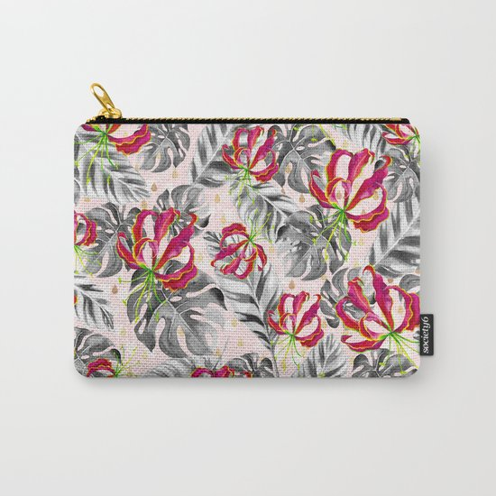 Tropical plants pattern and watercolor flowers Carry-All Pouch
