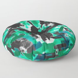 psychedelic vintage camouflage painting texture abstract in green and black Floor Pillow