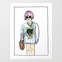 sweater Art Prints featuring Sweater by Juliette Dudley