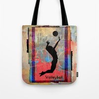 volleyball Tote Bags featuring Volleyball Girl by beeczarcardsandgifts