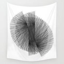 Black & White Radiating Lines Mid Century Modern Geometric Abstract Wall Tapestry
