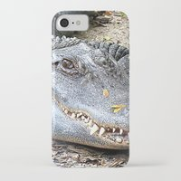 crocodile iPhone & iPod Cases featuring Crocodile by Laura Grove