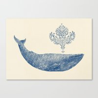 damask Canvas Prints featuring The Damask Whale  by Terry Fan