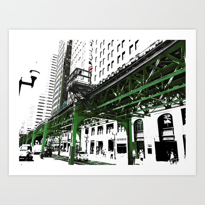 Chicago photography chicago el art print in green black and white art print