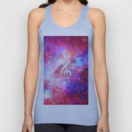 Galaxy Nebula Glitter Music Note Pink Space Unisex Tank Top