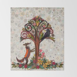 fox and crow Throw Blanket
