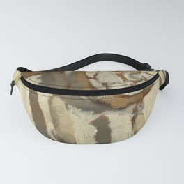 Still Life Impressionist Oil Painting of Native American Dreamcatcher in Brown, White and Grey Fanny Pack