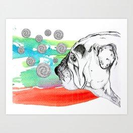mind reading dog Art Print