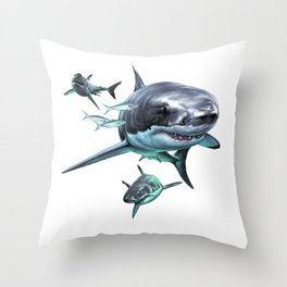 Great White Sharks Throw Pillow