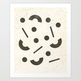 Jumble - Black on Cream Art Print