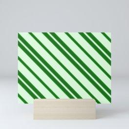 Modern Abstract Stripes - Green - Matching Set 1 of 2 Mini Art Print