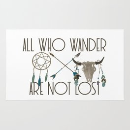 All Who Wander Are Not Lost Native American Dreamcatcher Arrows and Skull Rug