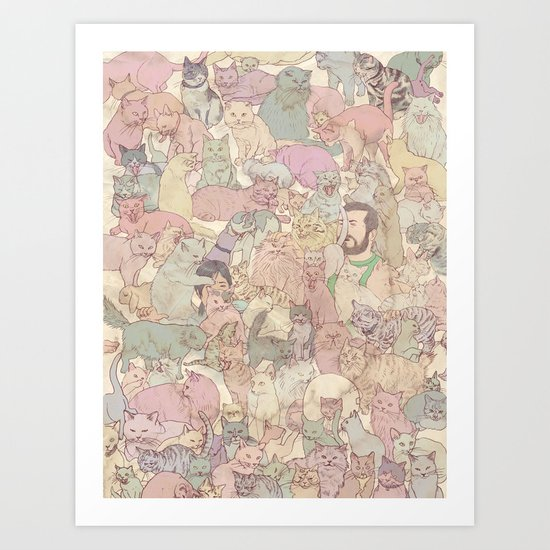 Self  Portrait with Kitties Art Print