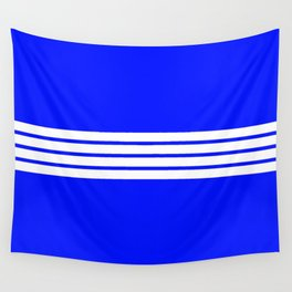 4 White Stripes on Blue Wall Tapestry