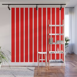 Vertical Lines (White/Red) Wall Mural