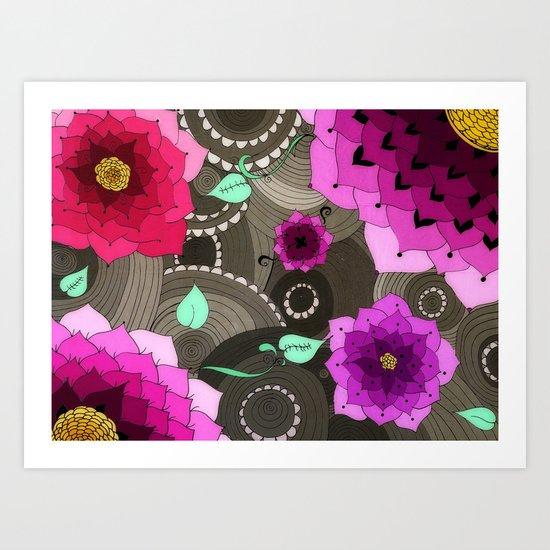 Concentric Floral Art Print