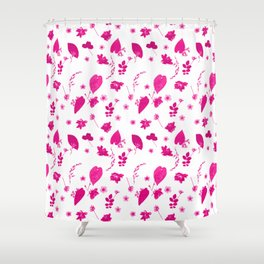 Pink Floral Pressed Flower and Leaf Pattern Shower Curtain