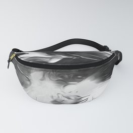 Raven: an abstract piece in hues of black and white by KKingCreations Fanny Pack