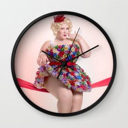 """Put a Bow On It"" - The Playful Pinup -  Christmas Bows Curvy Pin-up by Maxwell H. Johnson Wall Clock"