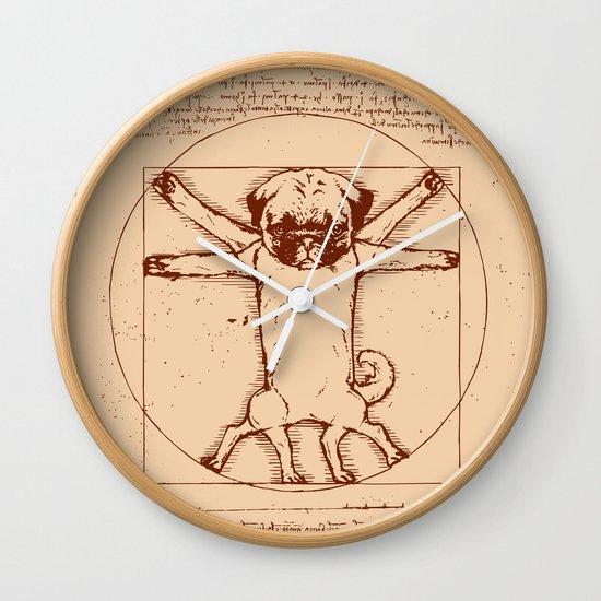 Vitruvian pug Wall Clock