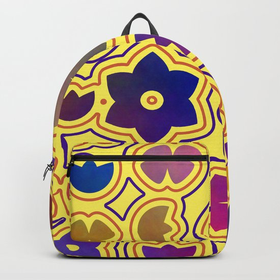 Floral doodles in yellow Backpack