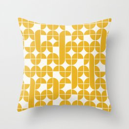 Mid Century Modern Geometric Pattern Yellow Throw Pillow