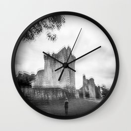 """""""The Ghost of Ross Castle"""" - Black and White Film Photograph taken in Killarney, Ireland Wall Clock"""