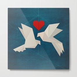 Origami Lovebirds Metal Print