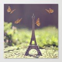 eiffel tower Canvas Prints featuring Eiffel Tower by Gabriela Da Costa