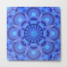 Azure Harmony Mandala Metal Print