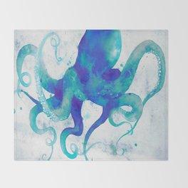 Octopus Watercolor Throw Blanket